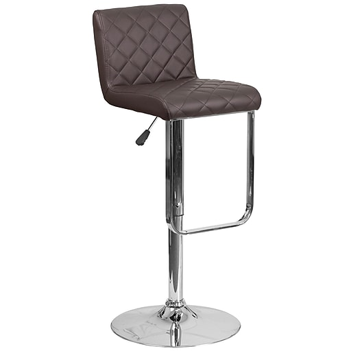 Contemporary Brown Vinyl Adjustable Height Barstool with Chrome Base (DS-8101-BRN-GG)