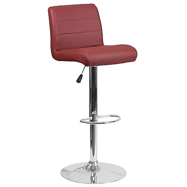 Contemporary Burgundy Vinyl Adjustable Height Barstool with Chrome Base (DS-8101B-BG-GG)