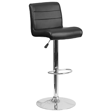 Contemporary Black Vinyl Adjustable Height Barstool with Chrome Base (DS-8101B-BK-GG)