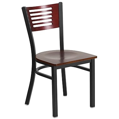 HERCULES Series Black Decorative Slat Back Metal Restaurant Chair, Mahogany Wood Back & Seat (XU-DG-6G5B-MAH-MTL-GG)