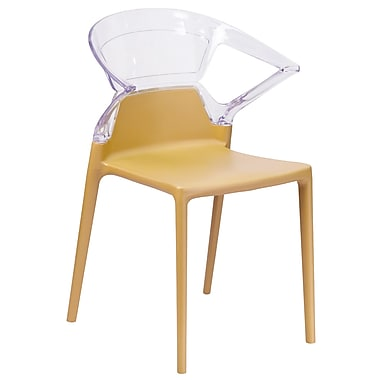 Fascination Series Plastic Stacking Side Chair with Gold Seat and Transparent Back (FH-103-APC-GOLD-GG)