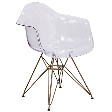 Chaise d'appoint transparente Allure avec cadre doré (FH-132-CPC1-GG)