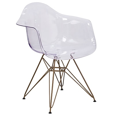 Allure Series Transparent Side Chair with Gold Frame (FH-132-CPC1-GG)