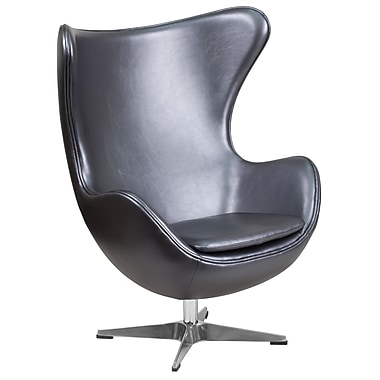 Gray Leather Egg Chair with Tilt-Lock Mechanism (ZB-23-GG)