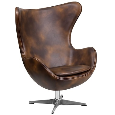 Flash Furniture Bomber Jacket Leather Egg Chair with Tilt-Lock Mechanism (ZB-21-GG)