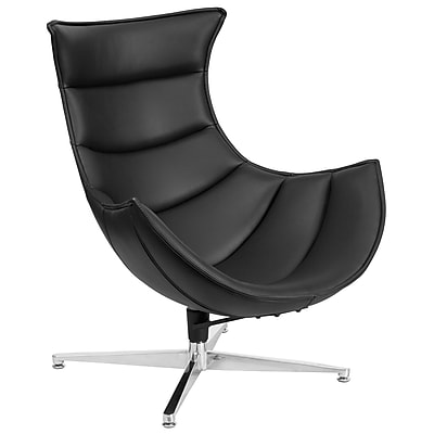 Black Leather Swivel Cocoon Chair (ZB-31-GG)