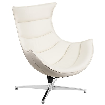 White Leather Swivel Cocoon Chair (ZB-32-GG)