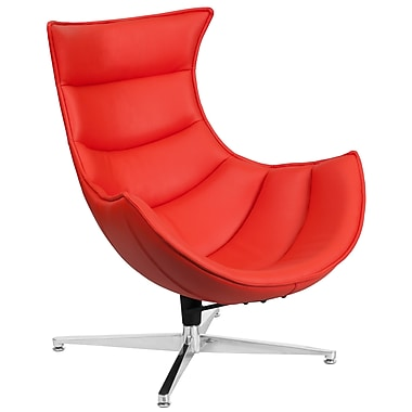 Red Leather Swivel Cocoon Chair (ZB-34-GG)