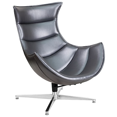 Gray Leather Swivel Cocoon Chair (ZB-37-GG)