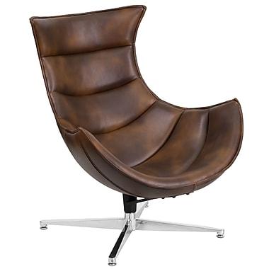 Chaise coquille pivotante en cuir style blouson d'aviateur (ZB-39-GG)