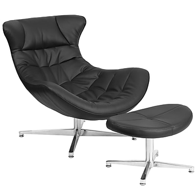 Black Leather Cocoon Chair with Ottoman (ZB-40-COCOON-GG)