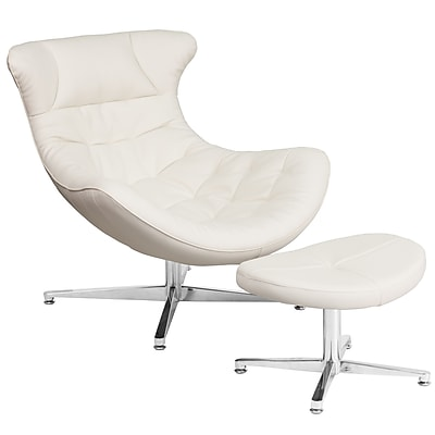 White Leather Cocoon Chair with Ottoman (ZB-41-COCOON-GG)