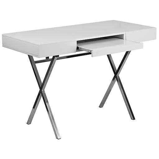 44.25''W x 21.625''D White Computer Desk with Keyboard Tray and Drawers [NAN-JN-2960-GG]