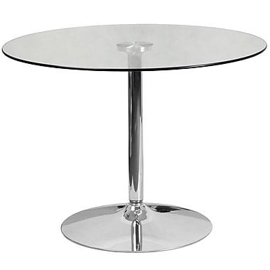 Table en verre ronde de 39,25 po avec base en chrome d'une hauteur de 29 po (CH-8-GG)