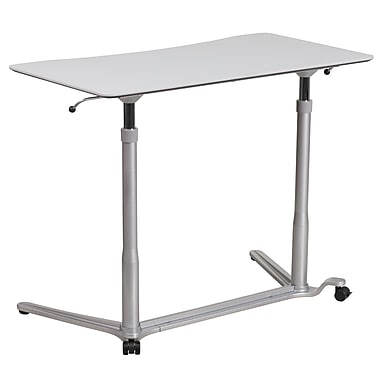 Sit Down, Stand Up Light Gray Computer Desk With 37.375u0027u0027W