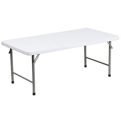 24''W x 48''L x 19''H Kid's Granite White Plastic Folding Table (RB-2448-KID-GG)