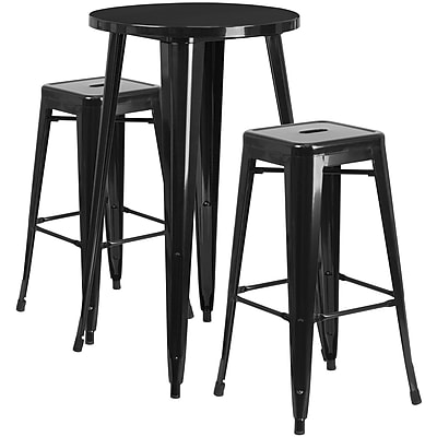 24'' Round Black Metal Indoor-Outdoor Bar Table Set with 2 Square Seat Backless Barstools (CH-51080BH-2-30SQST-BK-GG)