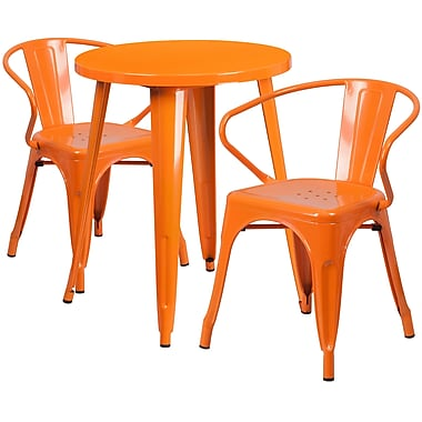 24'' Round Orange Metal Indoor-Outdoor Table Set with 2 Arm Chairs (CH-51080TH-2-18ARM-OR-GG)