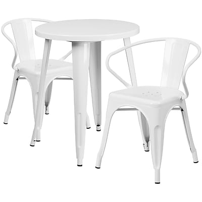 24'' Round White Metal Indoor-Outdoor Table Set with 2 Arm Chairs (CH-51080TH-2-18ARM-WH-GG)