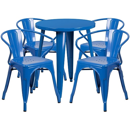 24'' Round Blue Metal Indoor-Outdoor Table Set with 4 Arm Chairs (CH-51080TH-4-18ARM-BL-GG)