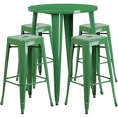 Ensemble de table de bar ronde en métal vert avec 4 tabourets carrés, intérieur/extérieur, 30 po (CH-51090BH-4-30SQST-GN-GG)