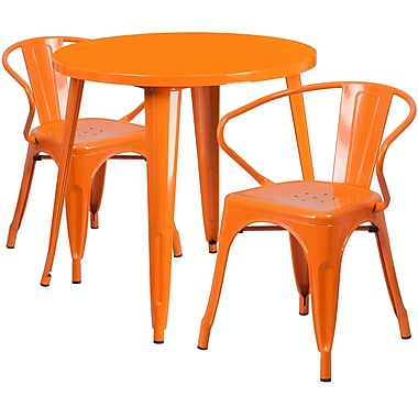 30'' Round Orange Metal Indoor-Outdoor Table Set with 2 Arm Chairs (CH-51090TH-2-18ARM-OR-GG)