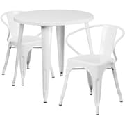 30'' Round White Metal Indoor-Outdoor Table Set with 2 Arm Chairs (CH-51090TH-2-18ARM-WH-GG)