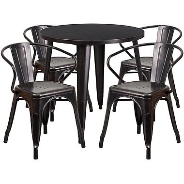 Ensemble avec table ronde en métal noir antique et or et 4 sièges à bras, intérieur/extérieur, 30 po (CH-51090TH-4-18ARM-BQ-GG)