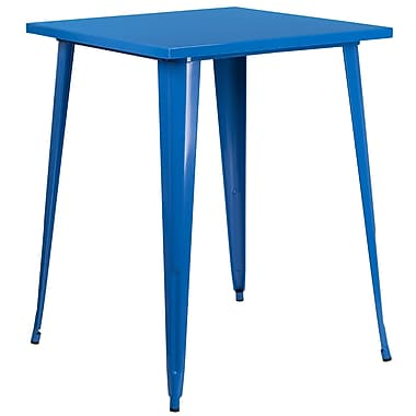 31.5'' Square Bar Height Blue Metal Indoor-Outdoor Table (CH-51040-40-BL-GG)