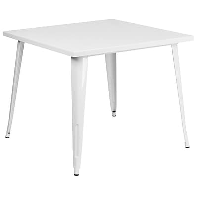 35.5'' Square White Metal Indoor-Outdoor Table (CH-51050-29-WH-GG)