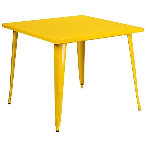 35.5'' Square Yellow Metal Indoor-Outdoor Table (CH-51050-29-YL-GG)