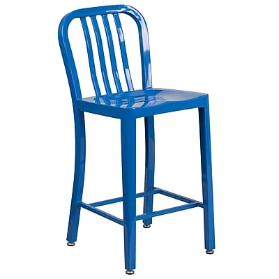 24'' High Blue Metal Indoor-Outdoor Counter Height Stool with Vertical Slat Back (CH-61200-24-BL-GG)