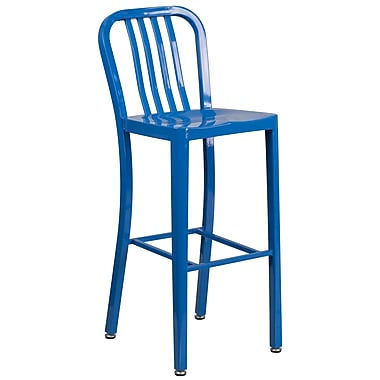 30'' High Blue Metal Indoor-Outdoor Barstool with Vertical Slat Back (CH-61200-30-BL-GG)
