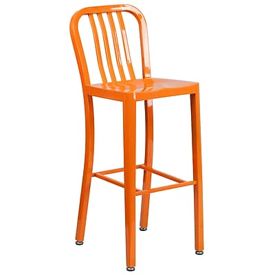 30'' High Orange Metal Indoor-Outdoor Barstool with Vertical Slat Back (CH-61200-30-OR-GG)