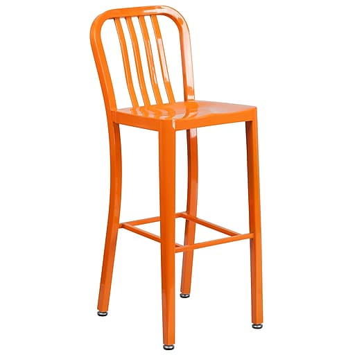 30'' High Orange Metal Indoor-Outdoor Barstool with Vertical Slat Back (CH-61200-30-OR-GG)