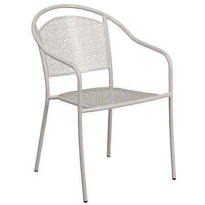 Light Gray Indoor-Outdoor Steel Patio Arm Chair with Round Back (CO-3-SIL-GG)