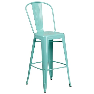 30'' High Mint Green Metal Indoor-Outdoor Barstool with Back (ET-3534-30-MINT-GG)
