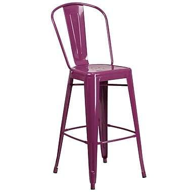 30'' High Purple Metal Indoor-Outdoor Barstool with Back (ET-3534-30-PUR-GG)