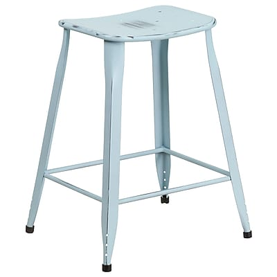 24'' High Distressed Dream Blue Metal Indoor-Outdoor Counter Height Stool (ET-3604-24-DISBL-GG)