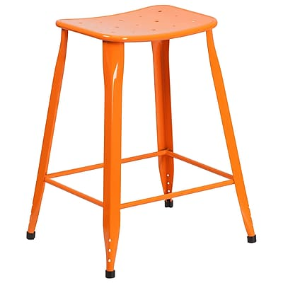 24'' High Orange Metal Indoor-Outdoor Counter Height Stool (ET-3604-24-OR-GG)