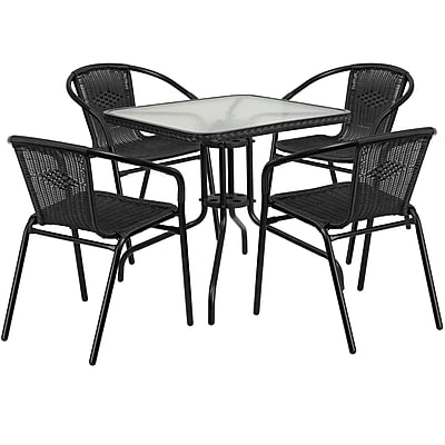 28'' Square Glass Metal Table with Black Rattan Edging and 4 Black Rattan Stack Chairs (TLH-073SQ-037BK4-GG)