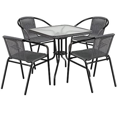 28'' Square Glass Metal Table with Grey Rattan Edging and 4 Grey Rattan Stack Chairs (TLH-073SQ-037GY4-GG)