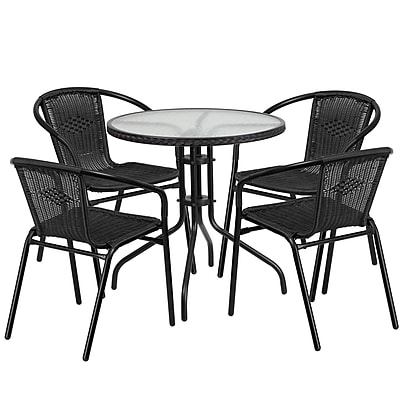28'' Round Glass Metal Table with Black Rattan Edging and 4 Black Rattan Stack Chairs (TLH-087RD-037BK4-GG)