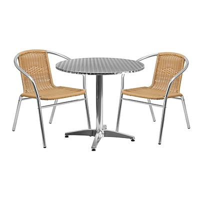 31.5'' Round Aluminum Indoor-Outdoor Table with 2 Beige Rattan Chairs (TLH-ALUM-32RD-020BGECHR2-GG)