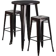 "Flash Furniture 24"" Round Antique Bar Table Set (CH-51080BH-2-30SQST-BQ-GG)"