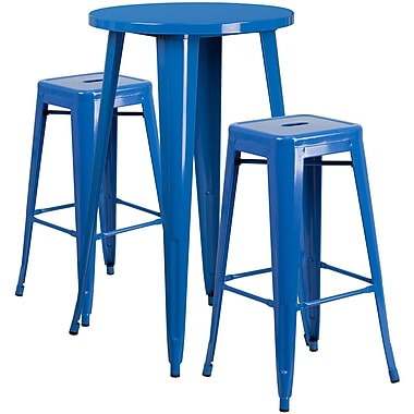 24'' Round Blue Metal Indoor-Outdoor Bar Table Set with 2 Square Seat Backless Barstools (CH-51080BH-2-30SQST-BL-GG)