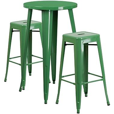 Ensemble de table bar ronde en métal vert avec 2 tabourets carrés, intérieur/extérieur, 24 po (CH-51080BH-2-30SQST-GN-GG)