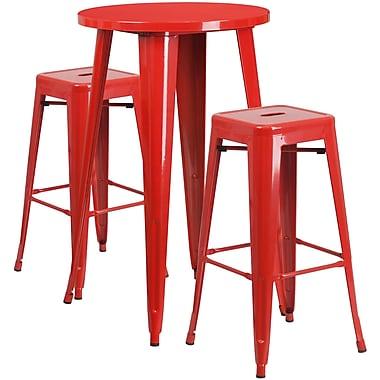 Ensemble de table bar ronde 24 po en métal rouge avec 2 tabourets carrés sans dossier, int/ext (CH-51080BH-2-30SQST-RED-GG)