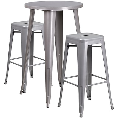 24'' Round Silver Metal Indoor-Outdoor Bar Table Set with 2 Square Seat Backless Barstools (CH-51080BH-2-30SQST-SIL-GG)