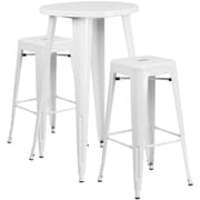 24'' Round White Metal Indoor-Outdoor Bar Table Set with 2 Square Seat Backless Barstools (CH-51080BH-2-30SQST-WH-GG)